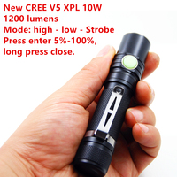 New Mini penlight 1200LM Waterproof LED Flashlight Torch 3 Modes Lantern Portable Tactical Torch Light CREE XPL V5 LED