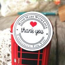 100 шт/лот «спасибо» Круглая Белая Крафтовая наклейка для канцелярских
