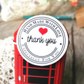 100pcs/lot Thank you Round White Kraft Stationery label sticker DIY Retro Seal sticker For products handmade with Love