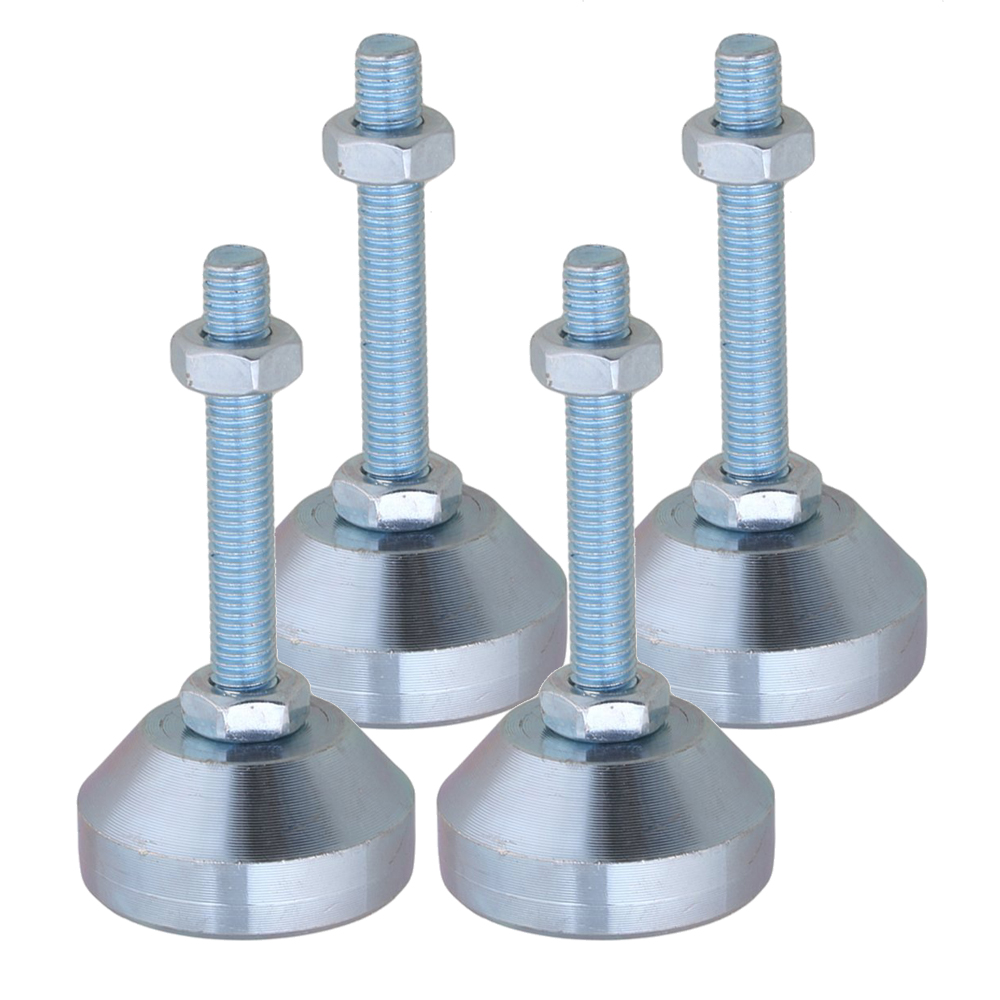 4 Pieces Carbon Steel 40mm Dia M8x50mm Thread Fixed Adjustable Feet For Machine Furniture Feet Pad Max Load 1Ton