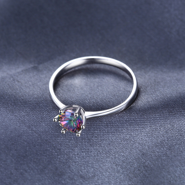 Natural Mystic Fire Rainbow Topaz Ring Engagement Wedding Ring Solid 925 Sterling Silver Jewelry Fine Jewelry Women Ring Classic