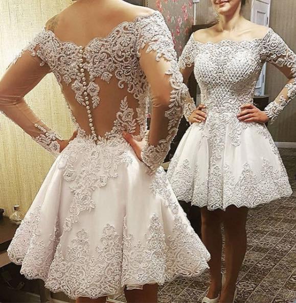 Robe de mariee  Long Sleeves Wedding Dress Knee Length Short Wedding Dresses With Lace Appliques  Luxury Bride Dress Boda
