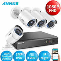 ANNKE 2MP HD Security Camera System 4CH DVR Kit 4pcs  1080P Surveillance Cameras  IP66 Outdoor Video Camera HDMI CCTV System