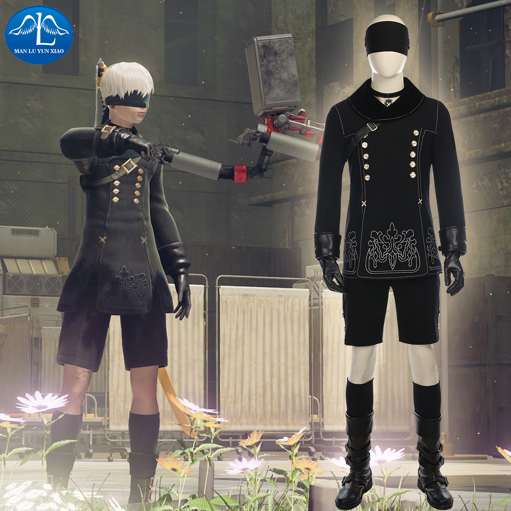 MANLUYUNXIAO YoRHa No.9 Type S Costume NieR:Automata 9S Cosplay Costume Halloween Carnival Costume Black Game Suit Custom Made