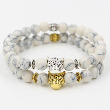 Drop Shipping High Grade Fashion 8mm White Turquoise Stone Bead Gold Silver Plated Leopard Head Charm Elastic Bracelet Men Gift