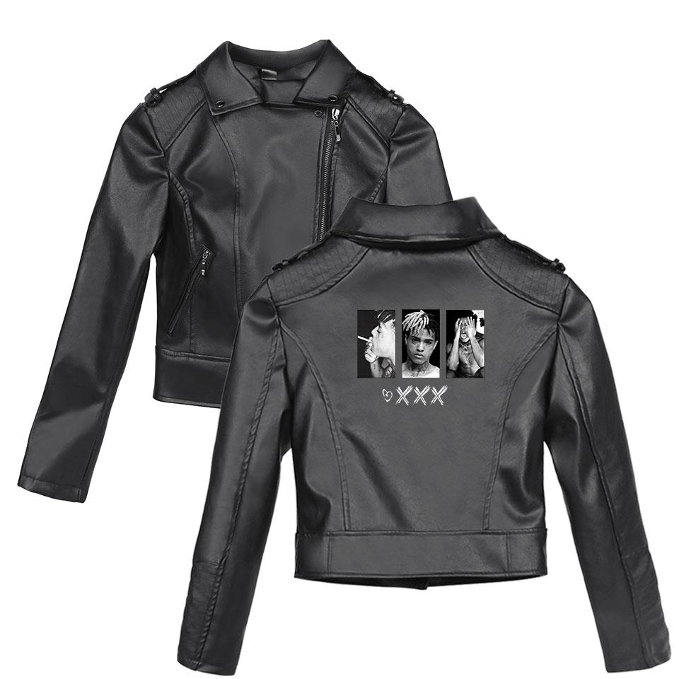 2019 XXXTentacion Women Fashion Leather Jackets Femal Winter & Autumn Zipper Faux Fur Coats Slim Fit Black PU Jackets