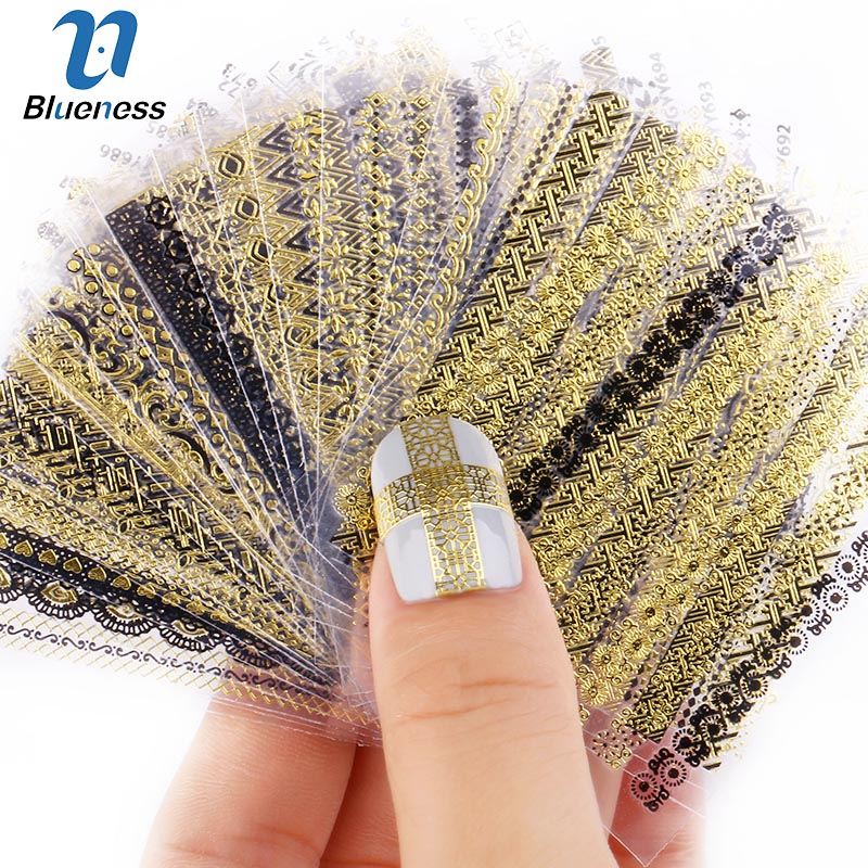 24Pcs/Lot Gold Stripe Love Heart Nail Stickers DIY Glitter Beauty 3D Nail Art Decorations Stamping Manicure Nails Decals Tool 24pcs lot 3d acrylic nail glitter powder sequin carving pattern power dust round shape 3d nail art decoration manicure nail tool