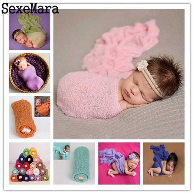 Envoltura bebé fotografía Props manta rayón envuelve estiramiento ...