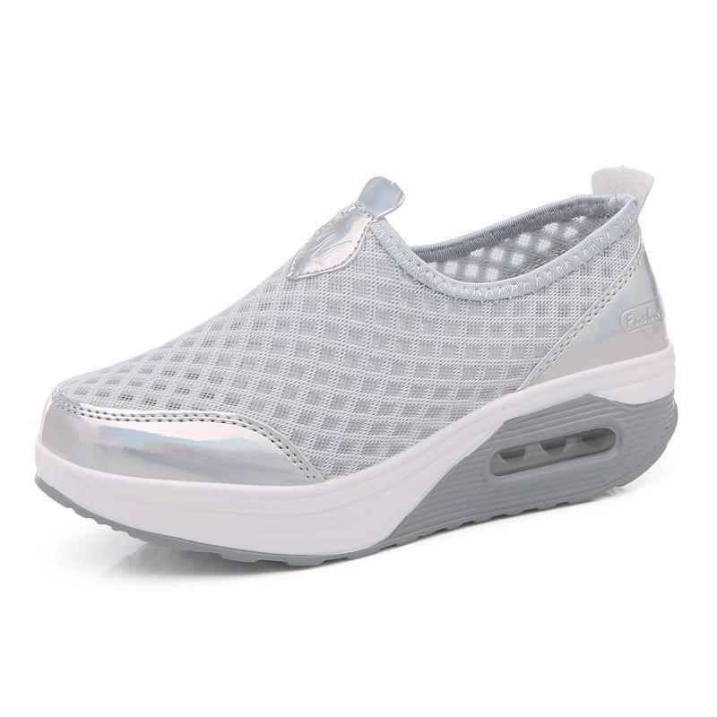 2019 Mesh Atmungs Großen Netto Sport Frauen Schuhe Erhöht Schaukel Schuhe Dicken Boden Muffin Schuhe 35-42 Cyl-442 SchöN Und Charmant Schuhe