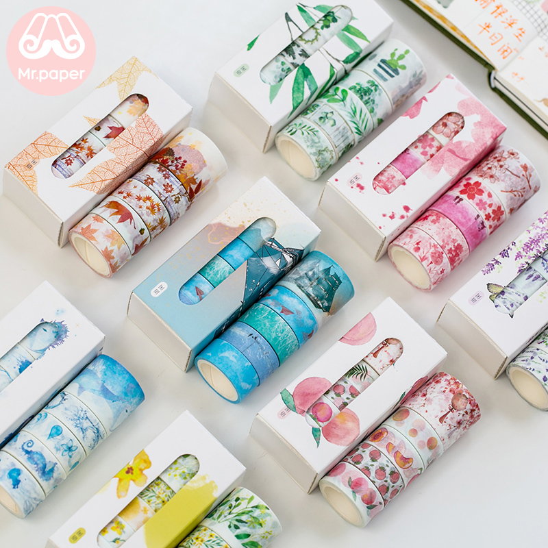 Mr Paper 5pcs/box Lavender Flower Peach Lemon Scrapbooking Deco Washi Tapes Bullet Journaling DIY Decoration Masking Paper Tapes