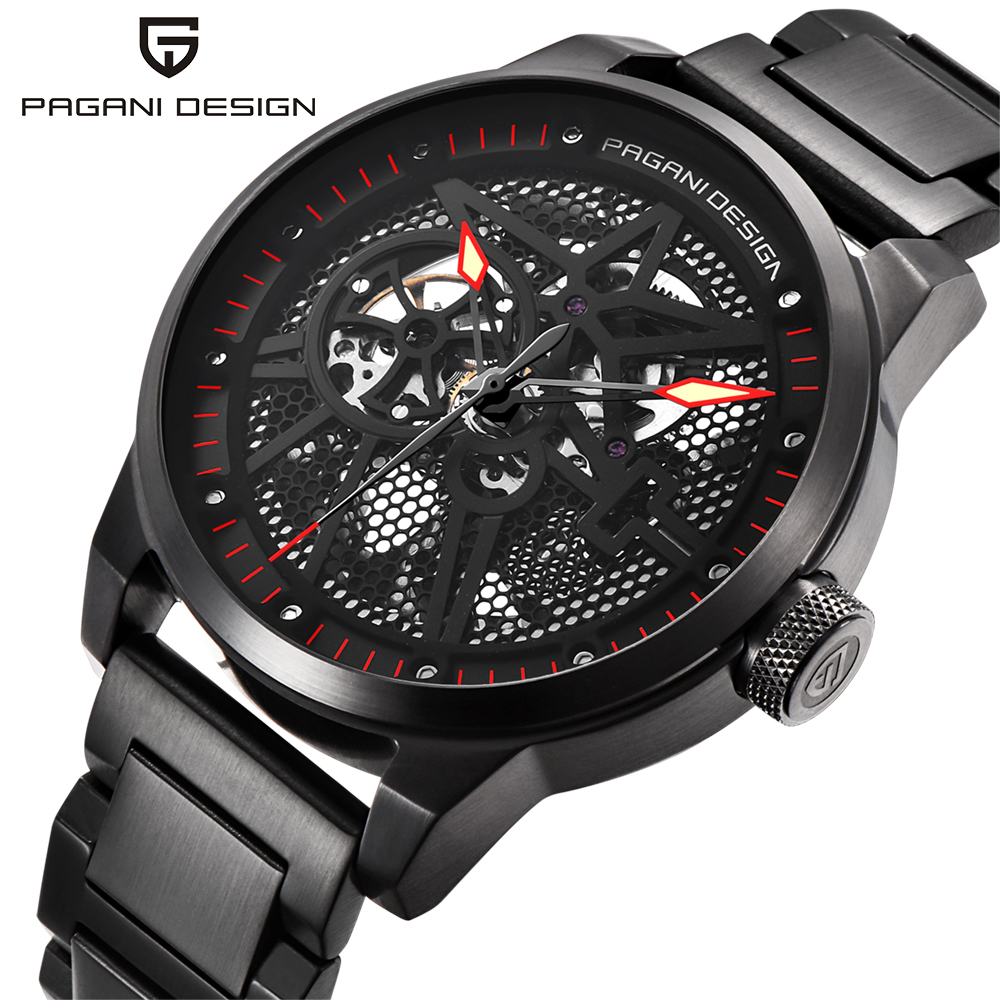 PAGANI DESIGN Brand Men's Classic Stainless Steel Mechanical Watches Waterproof Mens Watches Top Luxury Hollow Automatic Watch цена