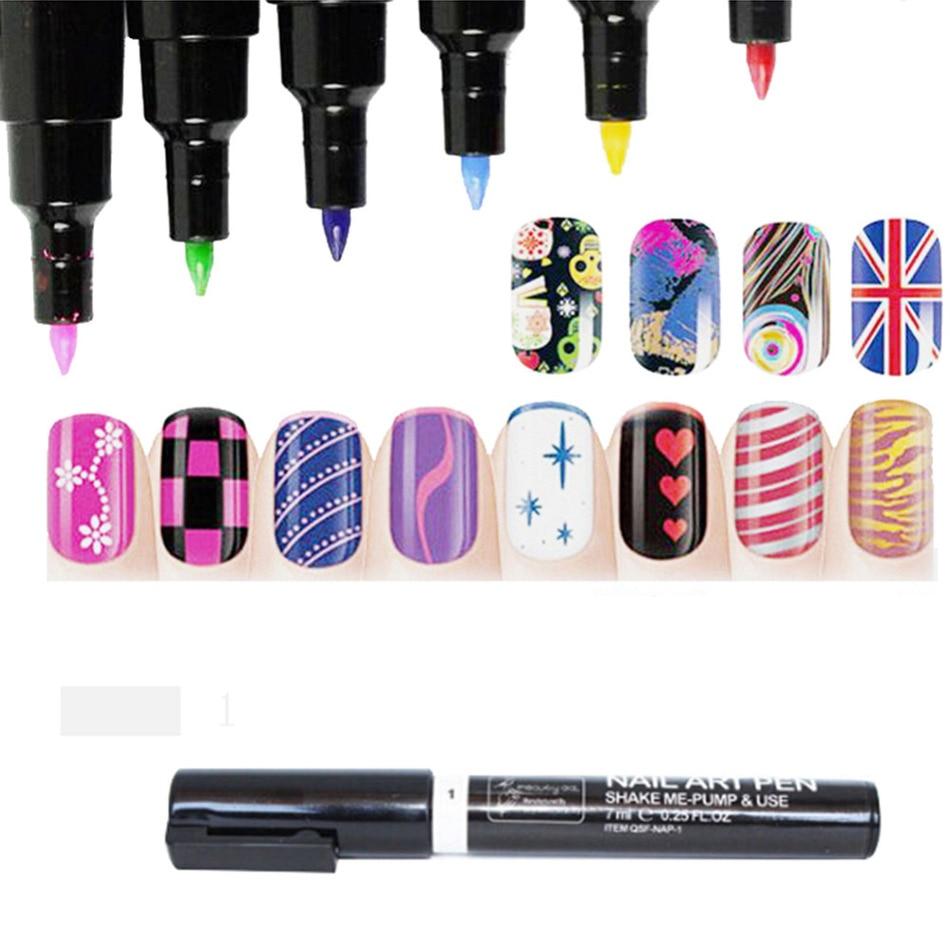 Colorful Dual Nail Art Pen Nail polish pen Beauty Painting Pen Nail Art Dotting Decorations Multi-Function Assorted Colors