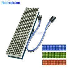 Microcontrolador LED MAX7219, pantalla 4 en 1 con módulo de matriz de puntos de línea 5P, voltaje de funcionamiento de 5V para Arduino 8x8 Dot Matrix Common