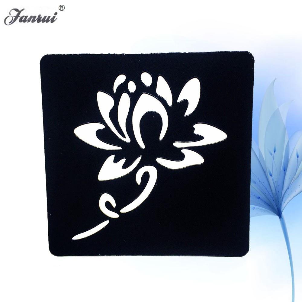 188eff5375413 Lotus Flower Henna Tattoo Stencil Women Girl Mehndi Tattoo Template