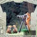 Pista do Navio + Retro Vintage T-shirt Top Tee Fotógrafo Câmera com Pouco Foxlet Pé Raposa Na Floresta 0424
