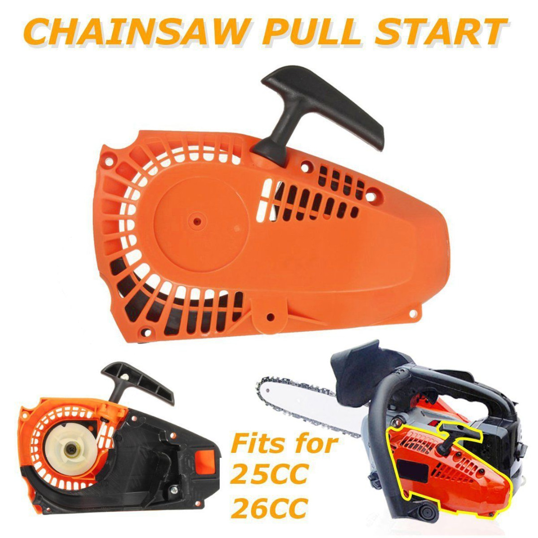 DWZ Top Handle Recoil Starter Pull Start For 25cc 26cc 2500 Chainsaw Engine Motor clutch fits for 25cc 25cc 2500 chain saw spare parts