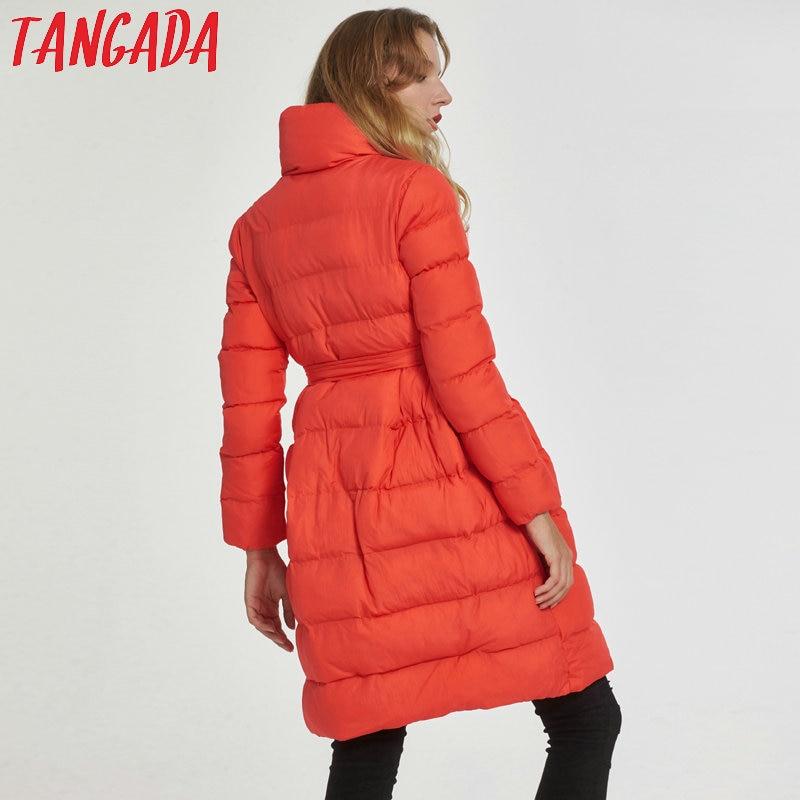 Rembourré Cravate 2017 Arc Tangada Veste La03 Chaud D'hiver Parka Longue Coton Mode Rouge Corail Coréenne Manteau Orange Femmes v6dWqw6x41