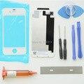 Para iphone 4s caso tampa traseira porta da bateria lente de vidro da frente substituição kits de reparo + uv cola + lâmina + ferramentas branco