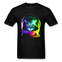 SpaceX Astronaut Cat Pure Cotton Mens T-shirts Printed Image T Shirt New Design Casual Top Wholesale Customize Male