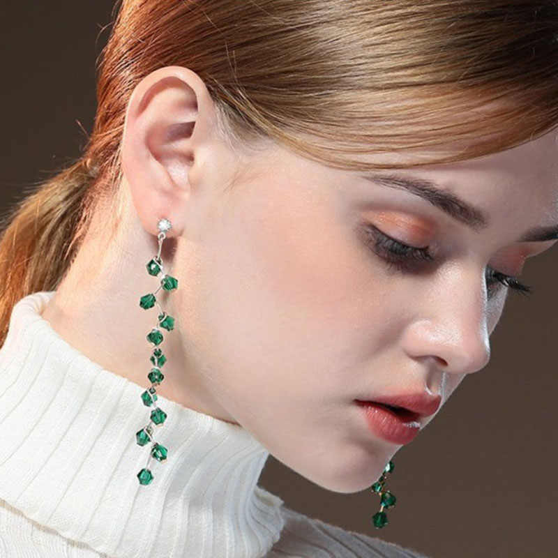 Green White Black Crystal Earrings Long Tassels Drop Earrings For Women Girls 2019 Geometric Statement Earring Fashion Jewelry