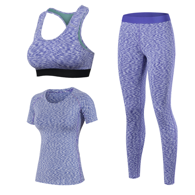 2017 New Women Quick Dry Yoga Sets for Gym Running Yoga T-Shirt Tops & Sports Bra Vest & Fitness Pants Workout Sports Suit Set wosawe men compression tights cycling base layer running fitness workout gym clothes long johns sports pant jersey suit