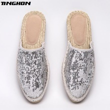 Fashion Silver Sequin Gold Ethnic Casual Espadrilles Flat New Women Spring  Slip on Bling Fishermen Hemp Rope Shoe