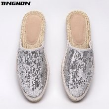 Fashion Silver Sequin Gold Sequin Ethnic Casual Espadrilles Flat New Women  Spring Slip on Bling Bling Fishermen Hemp Rope Shoe 37b928f43123