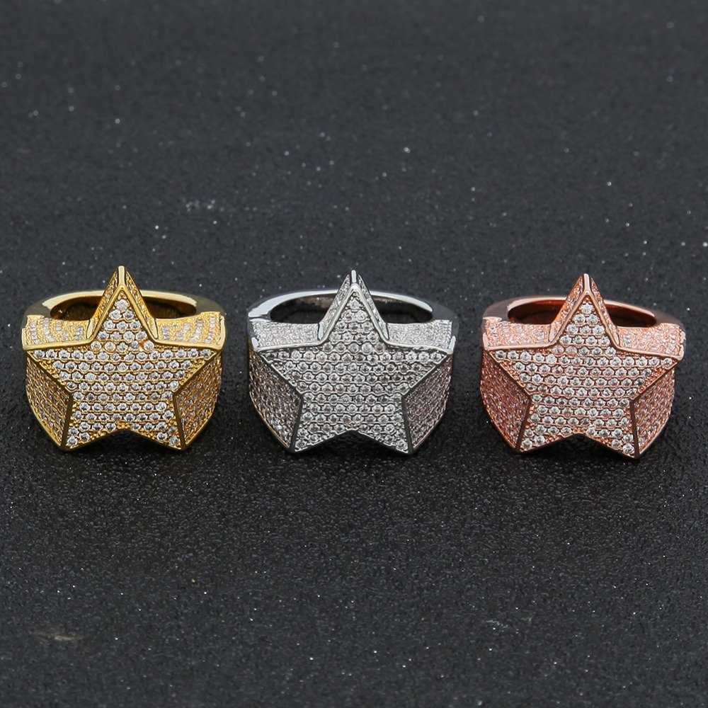 cfb0e04f6449d Details about Iced Out 14K Shiny Super Star Ring Gold Silver Rappers Hip  Hop Diamond jewelry