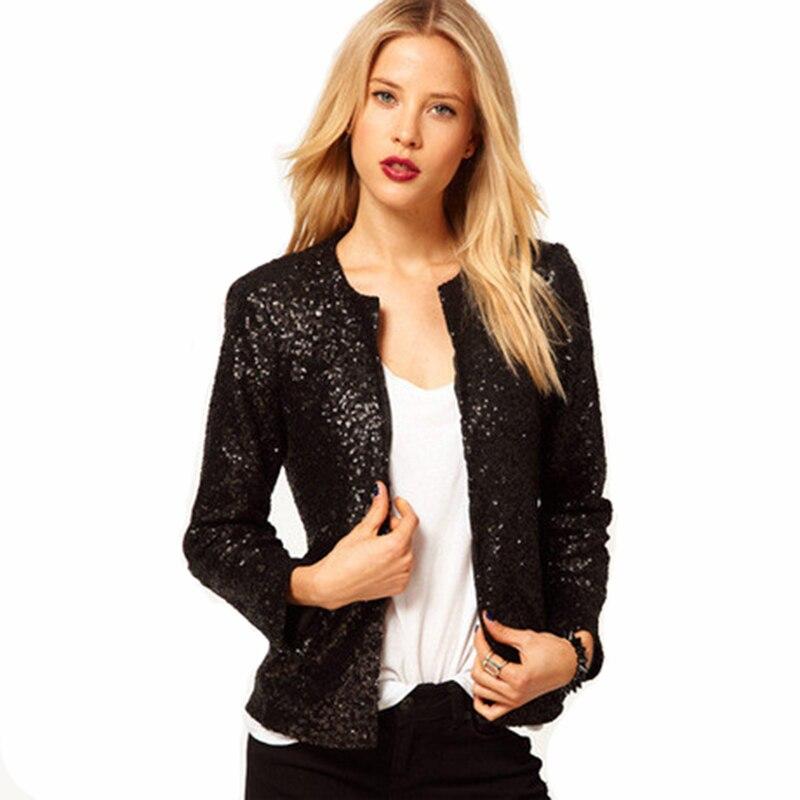 YOCALOR Paillette Long Sleeve Loose Women Basic Coats Womens Spring Autumn Jackets Red Sequin Vintage Short Silver Shiny Jacket