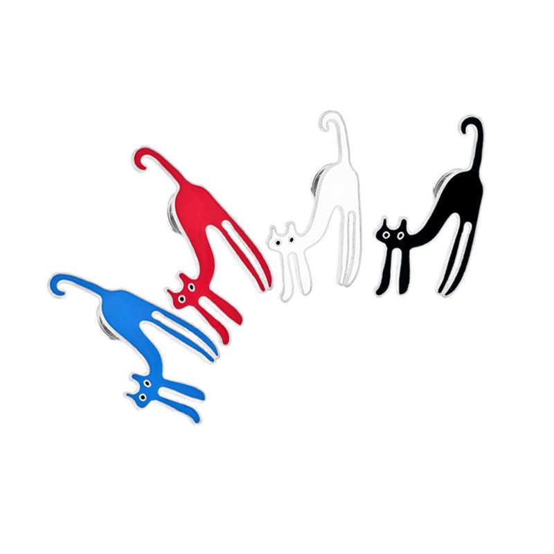 4 di colore Del Fumetto Creativo del Gatto Dello Smalto Spilla Perni del Risvolto Della Camicia Del Denim Del Collare del Maglione Della Decorazione Spille Carino Button Pin Per Unisex