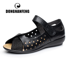 DONGNANFENG Women Female Ladies Old Mother Cow Genuine Leather Shoes Sandals Hollow Casual Summer Cool Beach Size 42 43 ZYX-187
