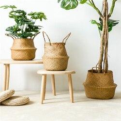 Cestas de armazenamento de bambu artesanal dobrável lavanderia palha retalhos vime rattan seagrass barriga jardim flor pote plantador cesta
