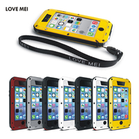 LOVE MEI Brand Aluminum Metal Case Cover For Apple iPhone 5C Powerful Shockproof Waterproof Cover For iPhone 5C Protect Shell