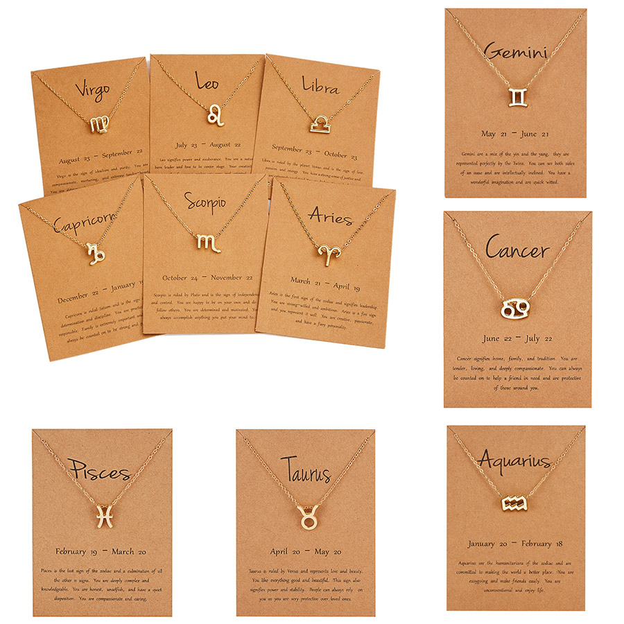 12 Zodiac Sign Constellations Pendants Necklaces For Women Men Male Gold Color Necklaces Jewelry Fashion Birthday Gifts