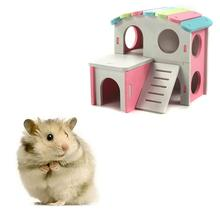 Hamster House Animal Hideout Wood Plastic Plate Exercise Pet Hutch Hamster Toy Pet Dwelling for Pet Small Animals Play юбка hutch