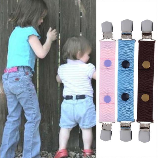 57a1213e5fc 100% nouveaux enfants enfants Jeans pantalon toile réglable ceinture  élastique boucle Clip ceinture chaude