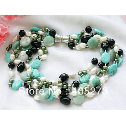 Stunning Natural Gem Stone Jewelry 5Rows 20'' Turquoises Jadev Real Freshwater Pearl Necklae 4 20mm Top Quality