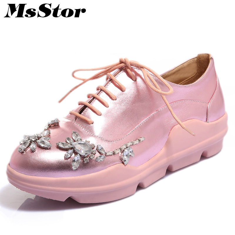MsStor Round Toe Cross tied Women Flats Casual Fashion Ladies Flat Shoes 2018 Spring Flower Crystal Women Brand Flat Shoes cresfimix women cute spring summer slip on flat shoes with pearl female casual street flats lady fashion pointed toe shoes