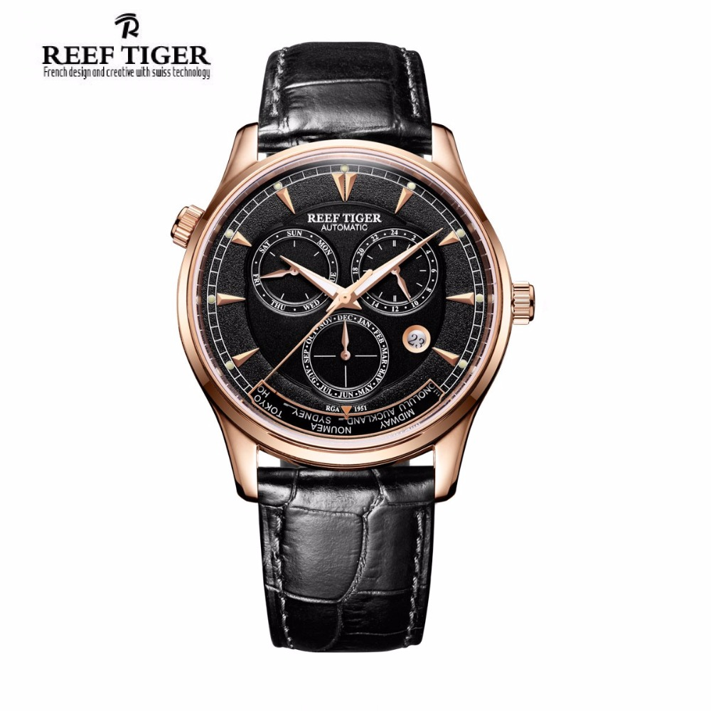 Reef Tiger/RT Designer Men's Watch with World Time Date Rose Gold Automatic Watch RGA1951 2x yongnuo yn600ex rt yn e3 rt master flash speedlite for canon rt radio trigger system st e3 rt 600ex rt 5d3 7d 6d 70d 60d 5d