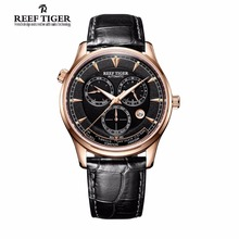 Reef Tiger/RT Designer Hommes de Montre avec Le Temps Du Monde Date Or Rose Montre Automatique RGA1951