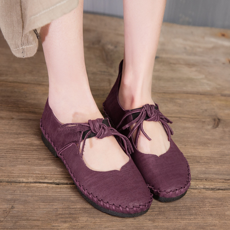 ФОТО Original design Spring autumn new tassel Cow leather women cowhide Elastic Band Solid Basic flat leisure round toe shoes