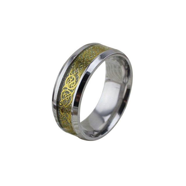 Unique Anium Steel Celtic Dragon Pattern Wedding 8mm Band Ring Jewelry Accessoris For Men Daily Wearing