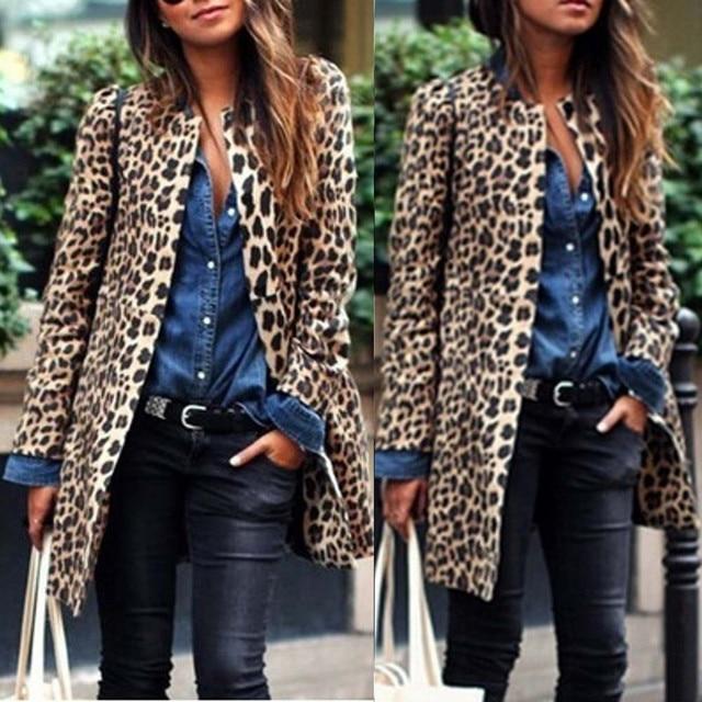 Women Fashion Leopard Sexy Winter Warm New Wind Coat Long Sleeve  Cardigan Leopard Print Long Brown Coat 2018 chaqueta mujer