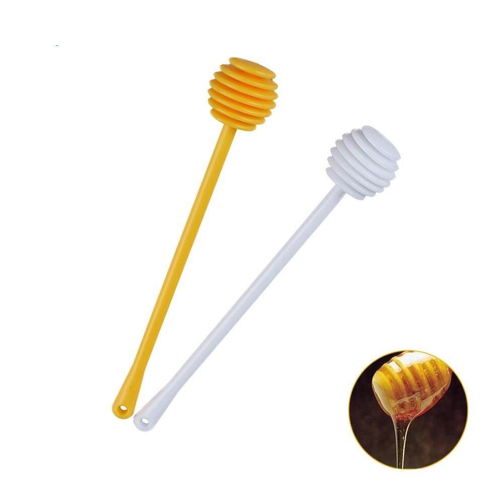2Pcs/Set Resin Honey Spoon Dipper Jam Stir Sticks Long Handle Dispensing Collecting Stirring Rod Yellow+White
