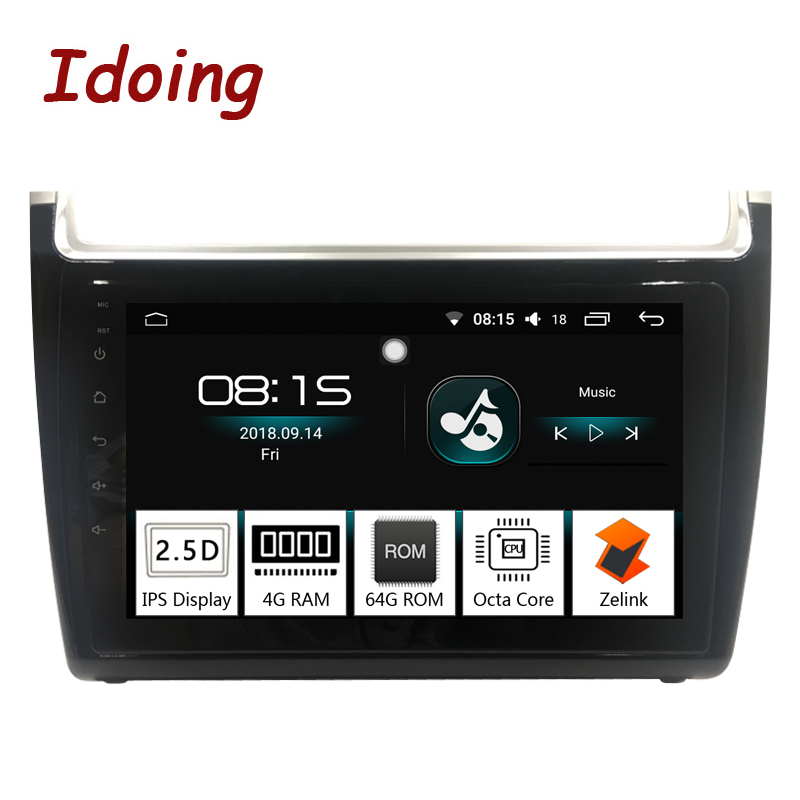 Idoing 1Din 9 pouces 2.5D IPS Android8.0 Voiture Radio GPS Lecteur Multimédia Pour VOLKSWAGEN Polo 2012-2016 Octa Core 4 RAM 64g ROM
