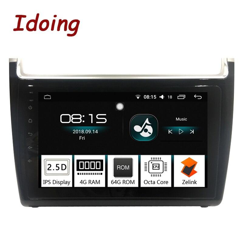 Idoing 1Din 9 pouces 2.5D IPS Android8.0 Voiture Radio GPS Lecteur Multimédia Pour VOLKSWAGEN Polo 2012-2016 Octa Core 4 RAM 64g ROM