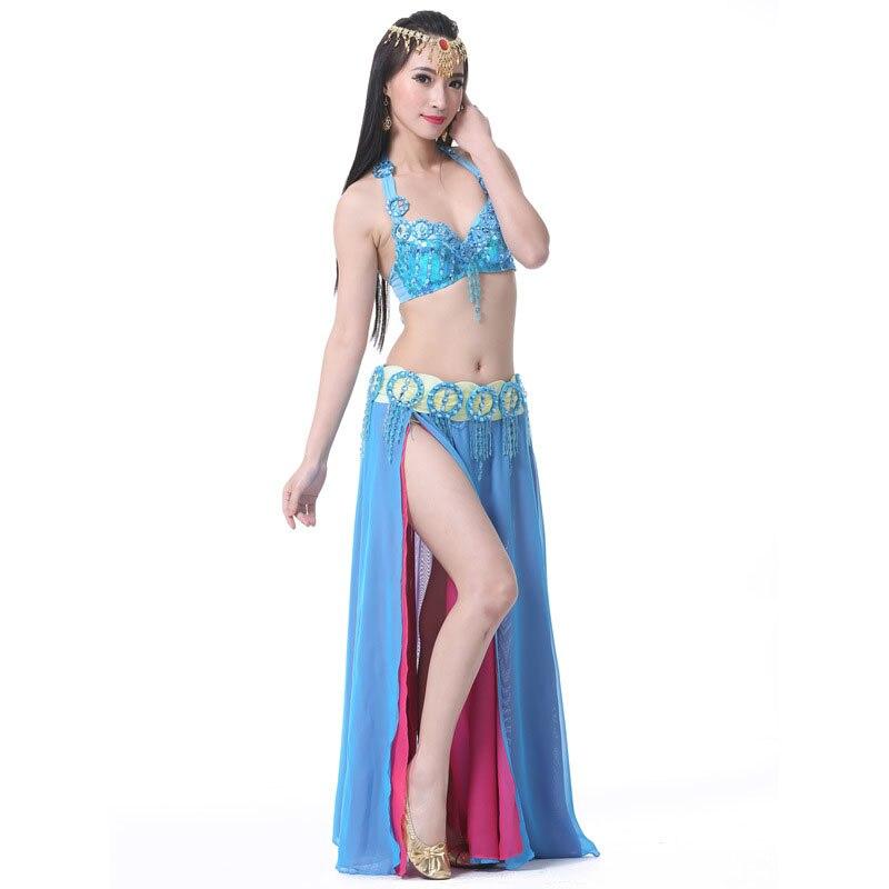 Women Stage Dance Wear 2019 Oriental Dance Sequined Beaded Bra Belt Dress Bellydance Suit 3pcs Costume for Belly Dance bollywood