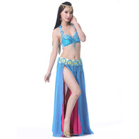Women Stage Dance Wear 2019 Oriental Dance Sequined Beaded Bra Belt Dress Bellydance Suit 3pcs Costume for Belly Dance bollywood