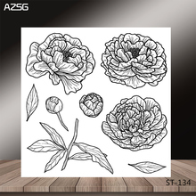 AZSG Beautiful Flower Bud Leaves Style Clear Stamps/Seal For DIY Scrapbooking/Card Making/Album Decorative Silicon Stamp Crafts