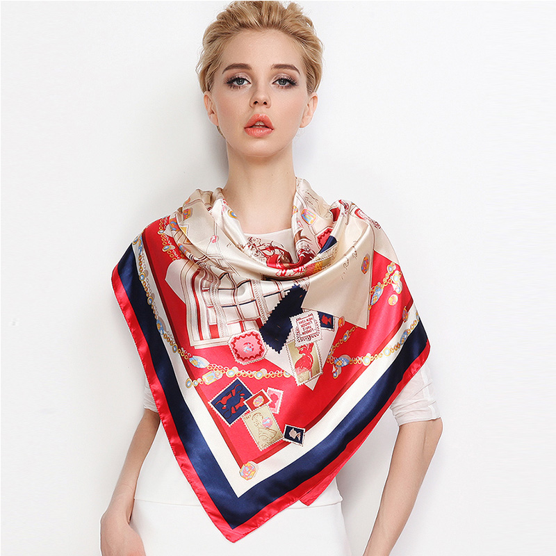Fashion Silk Satin Women Scarf Luxury Brand Pink Red Bag Printed Hijab Foulard Head Scarf Square Shawl Wraps 2018 90x90cm